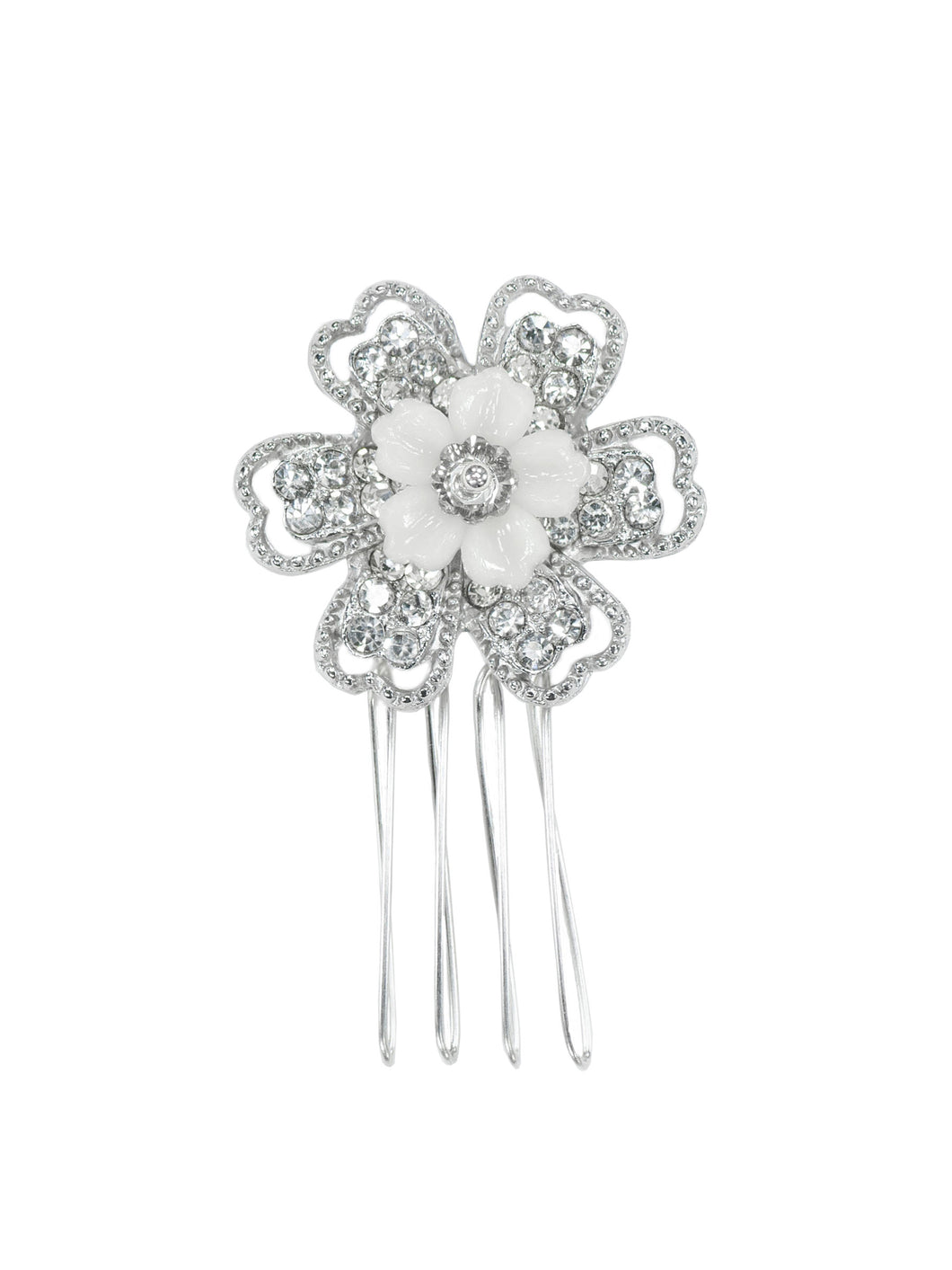 Opulence Rhinestone Single Flower Comb - Petite
