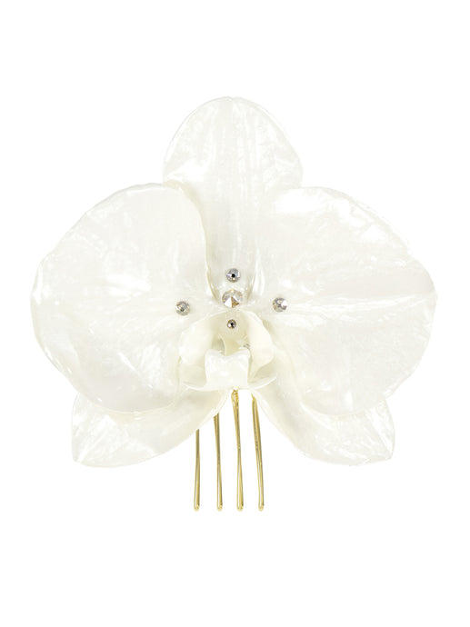 Enchantment Orchid Bridal Hair Comb - Gold/Ivory