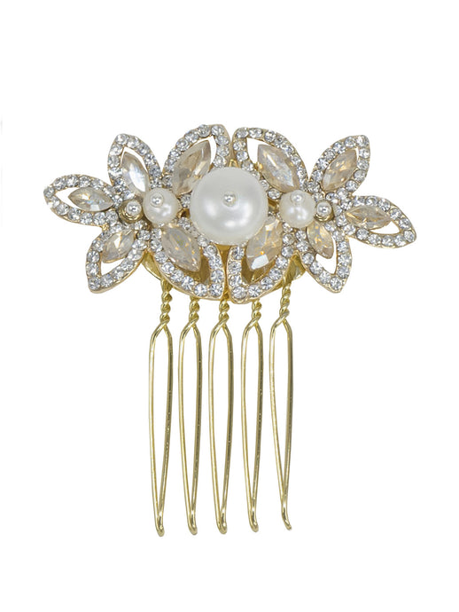 Enchantment Rhinestone Leaf Comb - Gold