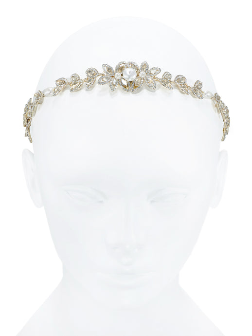 Enchantment Rhinestone Leaf Headband - Gold