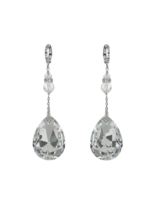 Joy Crystal Drop Earrings - Short Silver