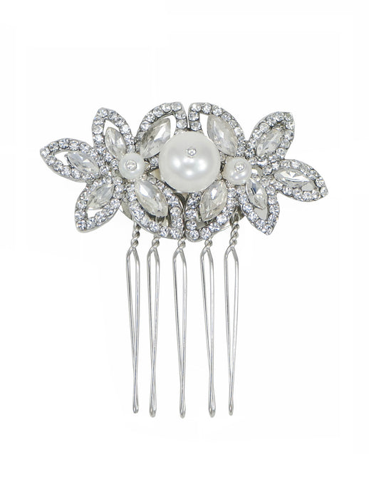 Enchantment Rhinestone Leaf Comb - Silver