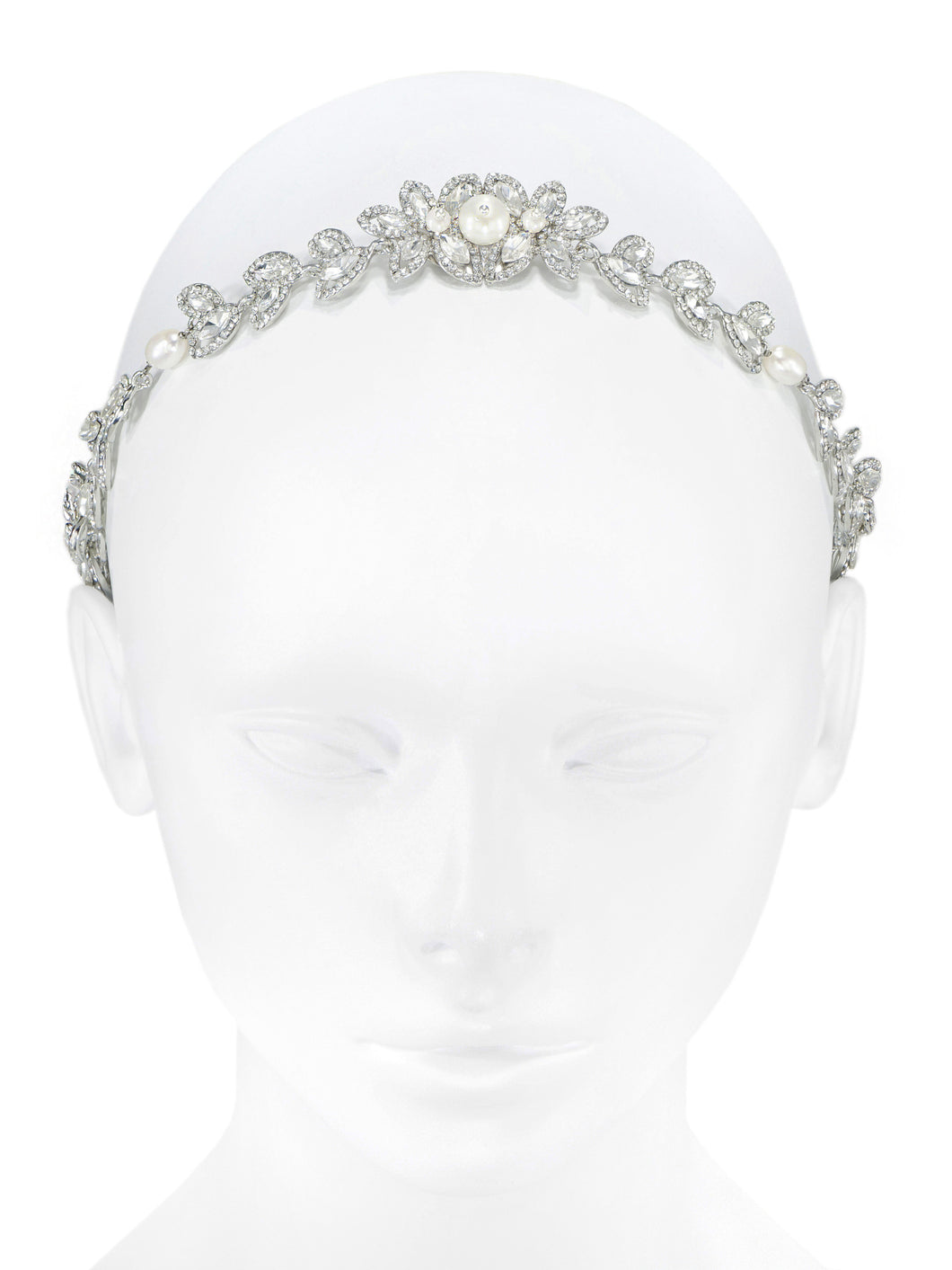 Enchantment Rhinestone Leaf Headband - Silver