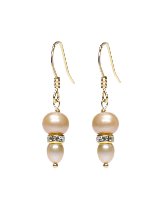 Blush Pearl & French Wire Earrings - Gold