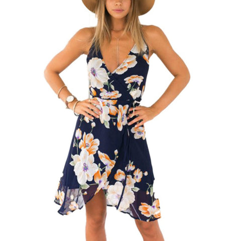 Floral Print Backless Sundress - All Eyes on Her