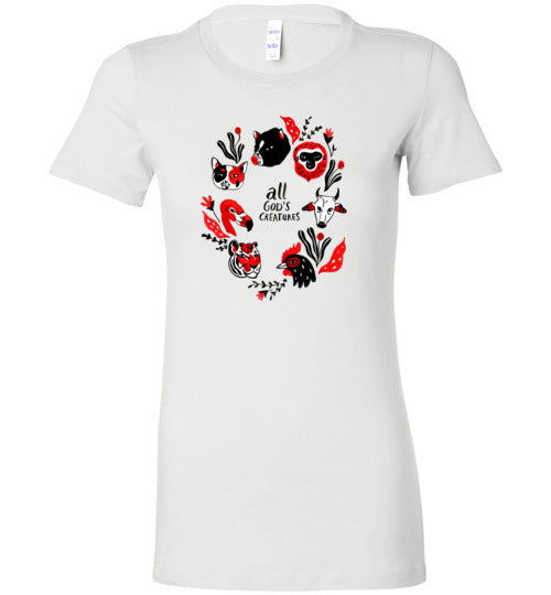 All God's Creatures: womens animal lover fitted tee