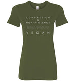 Compassion & Non-Violence: a great way to live: womens fitted tee