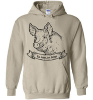 Eat Beans, Not Beings: Smiling Pig With A Message: hoodie unisex, kids sizes
