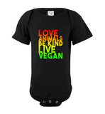 Love Animals Be Kind Live Vegan: baby onesie, infant bodysuit for babies