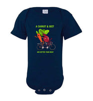 A Carrot & Beet: Are Better Than Meat: infant onesie, child bodysuit, baby onesie
