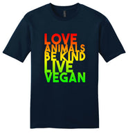 Love Animals Be Kind Live Vegan: premium soft unisex (or children's) vegan teeshirt
