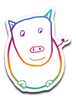 Vinyl Decal- child drawing of pig at Sanctuary