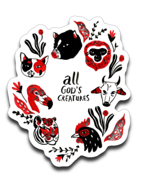 All God's Creatures car decal or window sticker