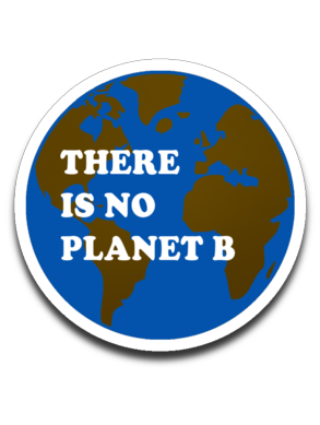 No Planet B - with continents - fundraiser decal for Plant Based Roots