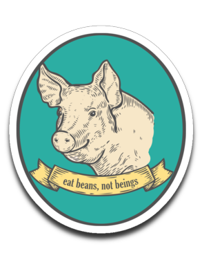 Eat beans, not beings - car decal or sticker, vegan smiling pig stickers