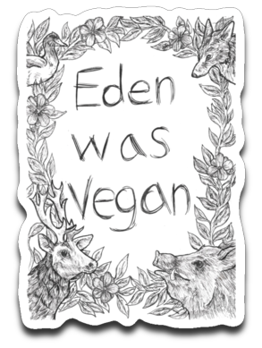 Eden was vegan: Cynical Coyote- car decal/sticker