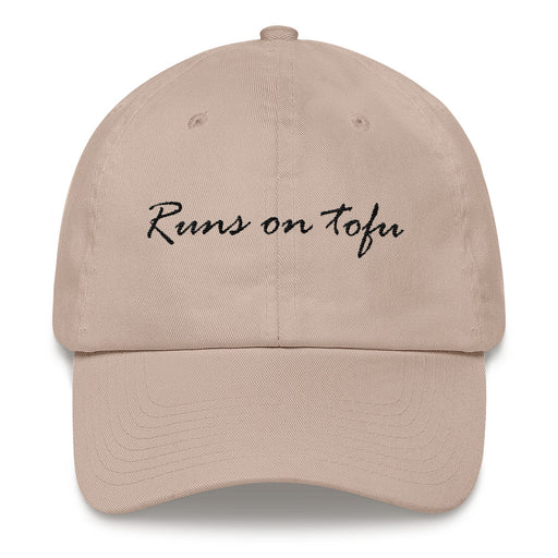 "Runs on tofu- baseball cap style ""dad hat"" gift idea for vegan or vegetarian"