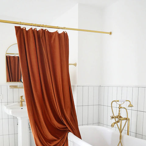 Velvet Shower Curtain in Rust