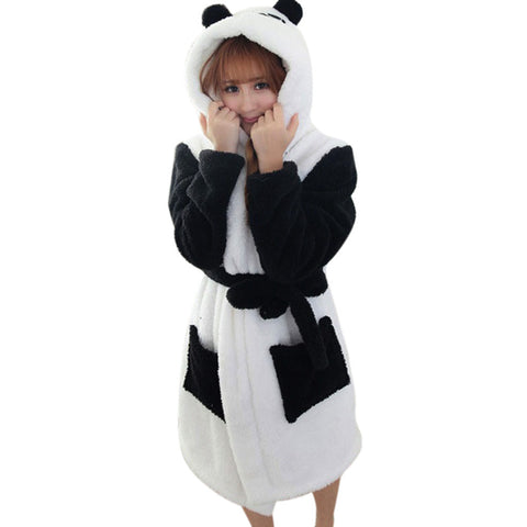 Hot Sale Winter Lady Pajamas Bath Robe Sleepwear Womens Robes Coral Velvet Bathrobes Women Cartoon Panda Homewear Asia Size M-L