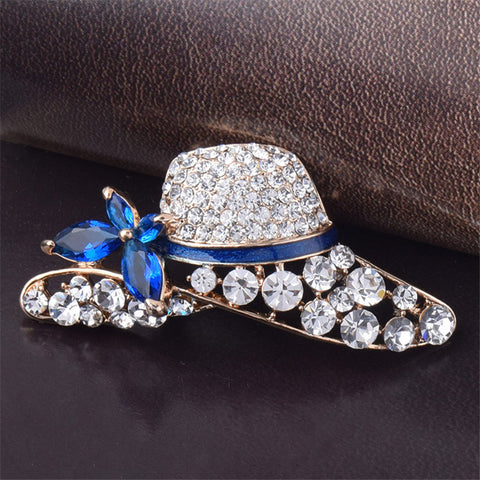 Hot Sale Simple Atmosphere Hat Shape Rhinestone Brooch For Women Party Jewelry Accessories