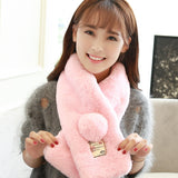 Autumn Winter 2016 New Fashion Pure Color Faux rabbit Fur Collar Scarf  Warm Collar Ring Scarf For Girl and Women Christmas Gif