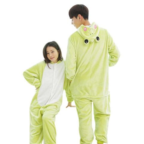 Couple Pajama Sets Flannel Pajama Cartoon  Onesies Nightgown Unisex Homewear Frog Pajamas one piece onesies for adults