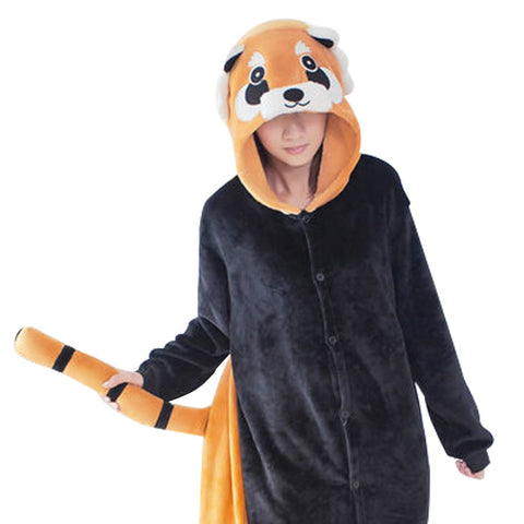 High Quality Cartoon Pijama Cosplay Cute Small Raccoon Home Clothes Flannel Animal Onesies Pajamas Warm Couple Pajama