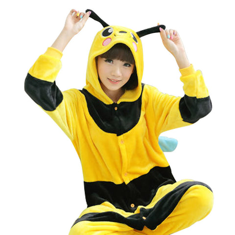 Hot Sale Winter Adult Cute Yellow Honey Bee Animal Pajamas Onesie for Party Cosplay Costume Pyjamas Homewear