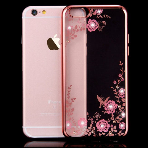 Luxury Secret Garden Flowers Rhinestone Cell Phone Cases For IPhone 6 6S Plus 5 5S 4 Women Plating Rose Gold Back Cover