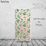 Soft Silicone Plants Cactus Banana Leaves Case For iphone 6 6S 5 5s SE 7 7Plus Transparent Clear TPU Phone Back Cover