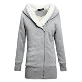 Autumn Winter Women Thick Fleece Warm Hoodies Sweatshirt Zipper Hoodie Outerwear Long Coat  Hooded Jacket Plus Size S-3XL