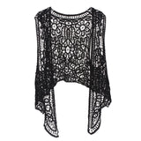 Asymmetric Open Stitch Cardigan Summer Beach Boho Hippie people style Crochet Knit Sheer Embroidery Blouse sleeveless Vest