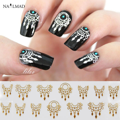 1 Sheet Dreamcatcher Nail Stickers Gold Dream Catcher Nail Stickers 3D Adhesive Sticker Decals