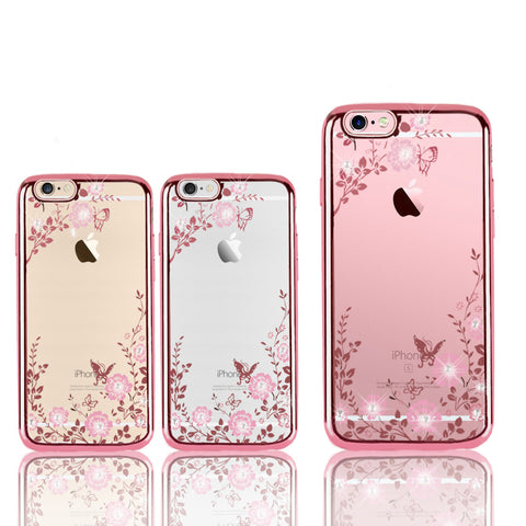 2017 New Luxury Secret Garden Flowers Rhinestone Cell Phone Cases For IPhone 6 6S Plus 5 5S 4 4S 7 7 Plus Women Phone Case