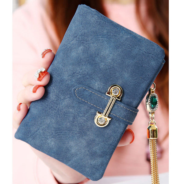Aosbos fashion short matte ladies wallet vintage tassel zipper and hasp womens wallets and purses Money Bag free shipping 026-2