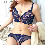BEFORW Women Bras Set Push Up Lace Women Bra Set Adjustment Type Sexy Embroidery Bra And Panty Lingerie Gather bra set For Women