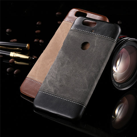 Fashion Phone Cases for Nexus 6P 5 Funda Retro Jean Denim PU Leather Case Top Quality Cowboy Canvas Hard PC Cover Business Style