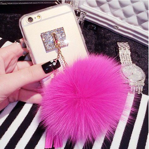 Luxury Fox Fur Ball Pendant Tassel Soft TPU GEL Back Cover Phone Cases For iPhone 7 6 6S Plus 5 5S SE Case Shell Capa Carcasas