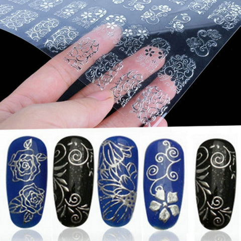 1 Sheet=108Pcs 3D Silver Flower Nail Art Stickers Decals Stamping DIY Decoration Tool DIY Beauty Nail Art Decals Decorations