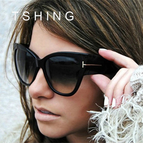 Fashion Ladies Oversized Cat Eye Sunglasses Women Vintage Luxury Brand Designer Big Frame Sun Glasses Tom Female Oculos UV400