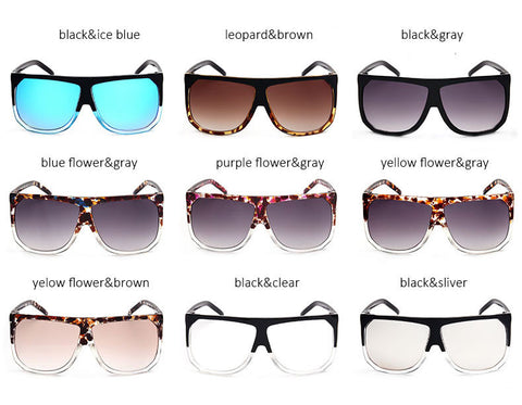 Fashion New Big Frame Flat Top Women SunglassesSuperstar Brand Designer Oversized Clear Gradient Sun Glasses Woman Shades