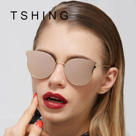 New 2017 Ladies Cat Eye Flat Sunglasses Women Fashion Vintage Metal Frame Mirror Sun Glasses Unique Female Sunglass UV400