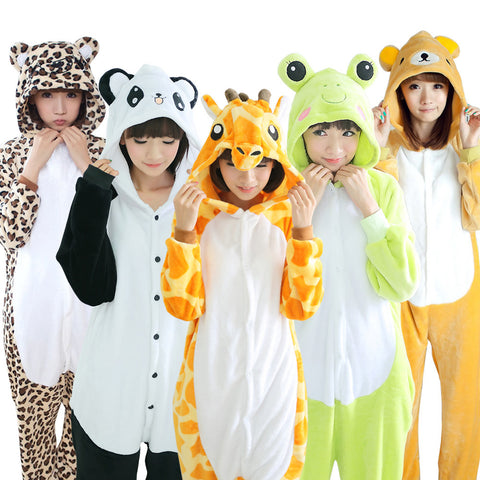 KIGUCOS 22 Styles All in One Flannel Anime Pijama Cartoon Cosplay Warm Sleepwear Hooded Homewear Women Cute Animal Pajamas