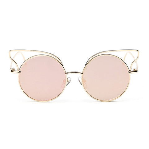 New Fashion Lady Metal Cat Eye Round Lenses Sunglasses