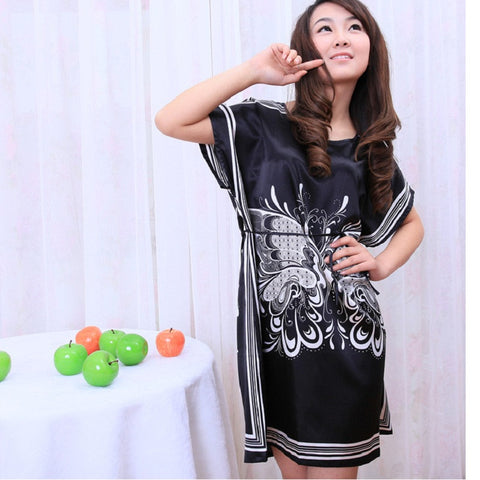 print pijama women nightwear Nightgowns girls Floral sleepwear casual robe night summer dress home clothing