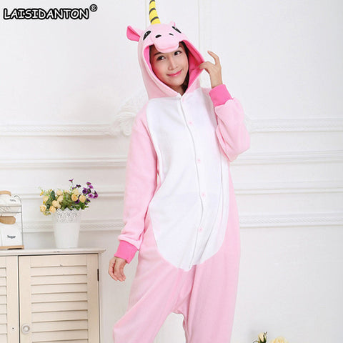 Unisex Adult Winter Unicorn Pajamas 2017 Animal Pajama Sets Sexy Hooded Homewear Flannel Sleepwear Female Cute Cartoon Pyjama
