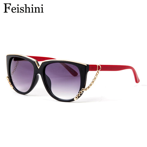 FEISHINI Classic Metal Pattern Brand Designer Gradient Vintage UV400 Sunglasses Women Cat eye 2017 Fashion Chain Decoration