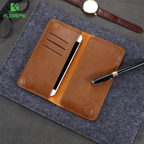 FLOVEME Retro Leather Universal Wallet Pouch Case For LG G5 G4 G3 Fashion Mobile Phone Bag Case For LG 5.5 inch Women Pouch Bag