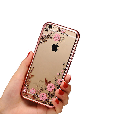 2016 New Luxury Secret Garden Flowers Rhinestone Cell Phone Cases For IPhone 6 6S Plus 5 5S 4 Women Plating Rose Gold Case Cover
