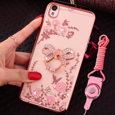 Luxury Secret Garden Flowers Rhinestone Cell Phone Cases For IPhone 5 5S SE Coque Women Plating TPU Capa Case Cover